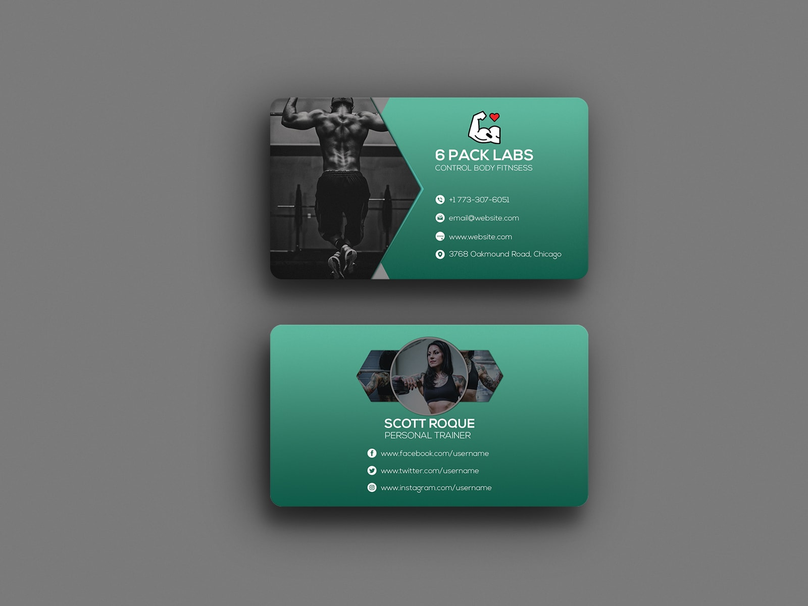 6 Pack abs Personal Trainer Business Card