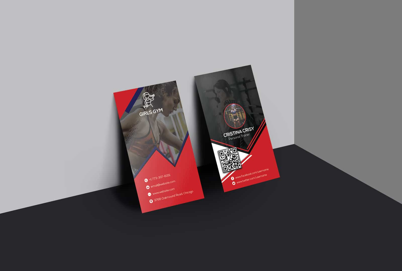 Girls Gym Personal Trainer Business Card