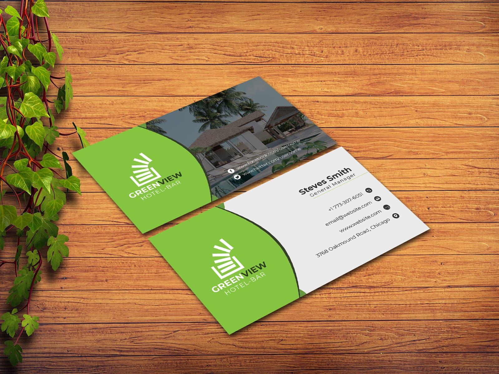 green view hotel business card design  techmix