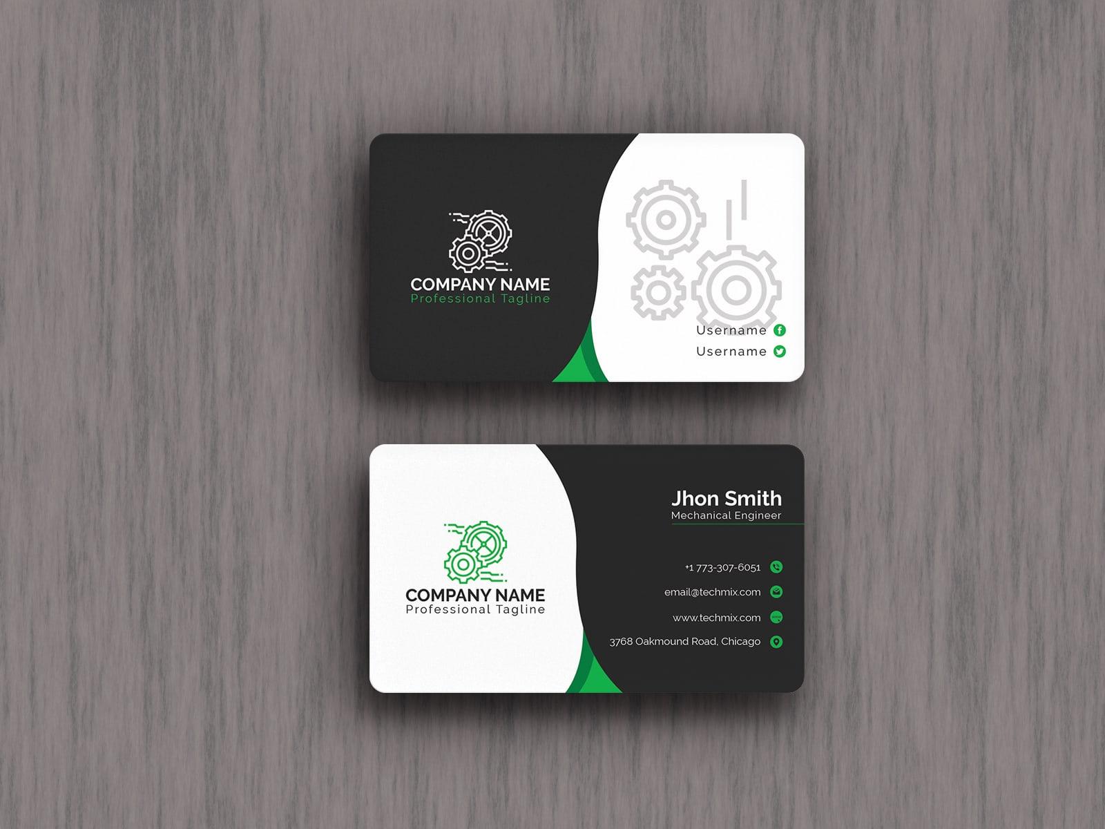 Black & White Mechanical Engineer Business Card