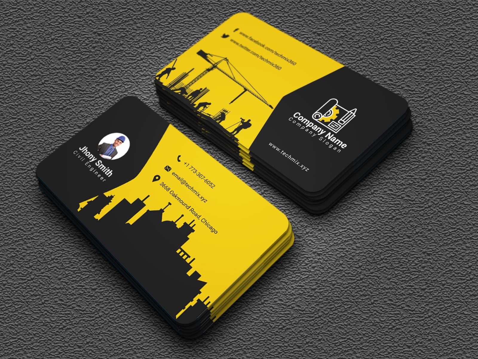 Civil Engineer Business Card Design