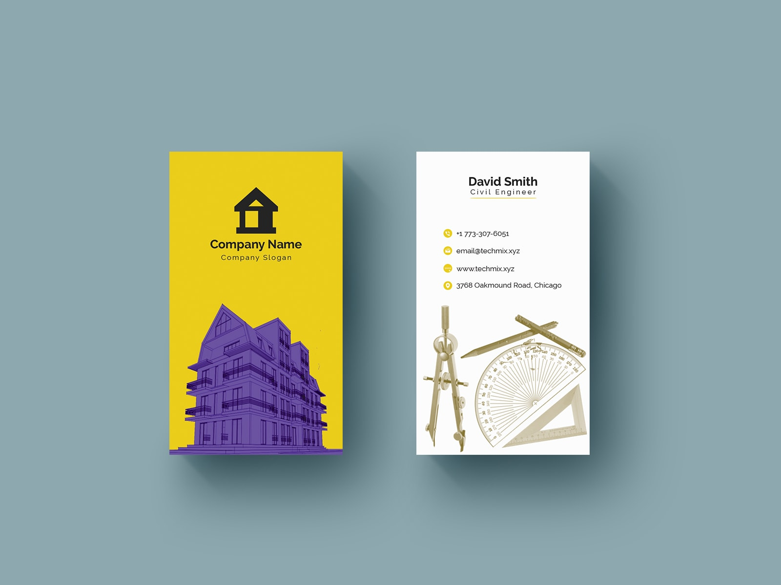 Civil Engineer Business Card Template