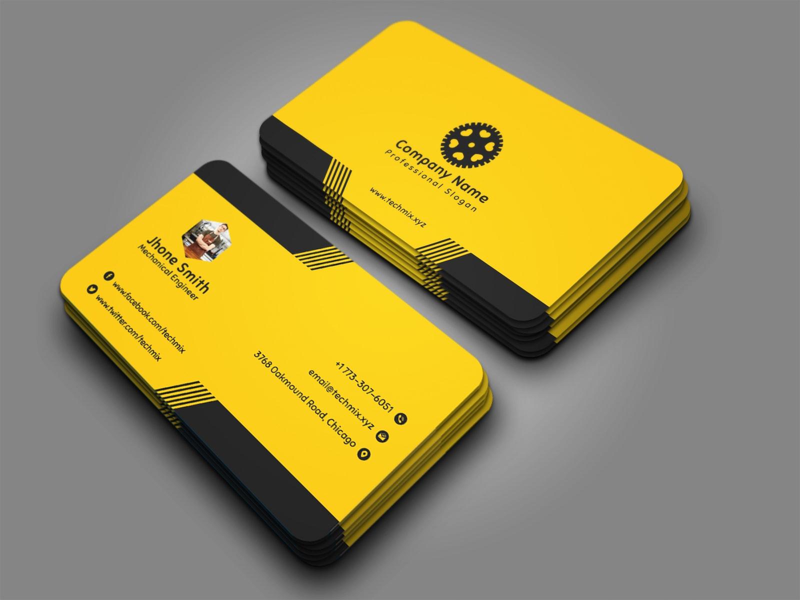 Elegant Mechanical Engineer Business Card