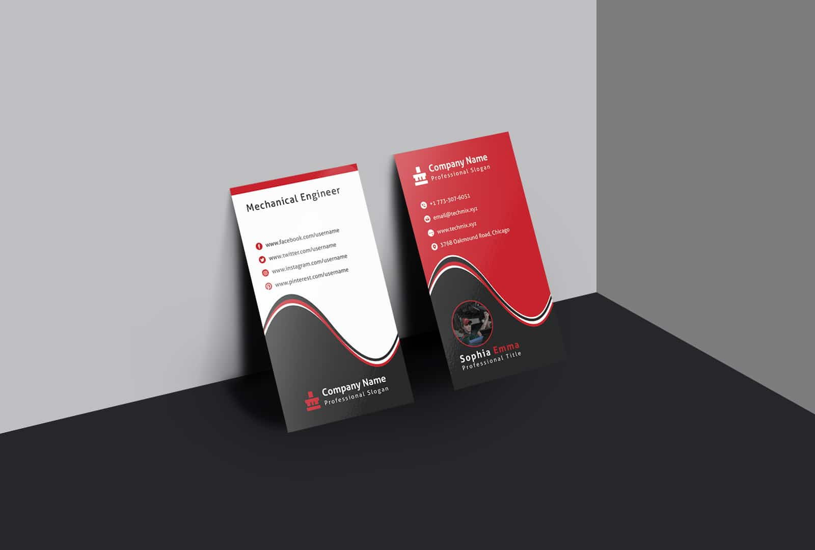 Mechanical Engineer Business Card Template