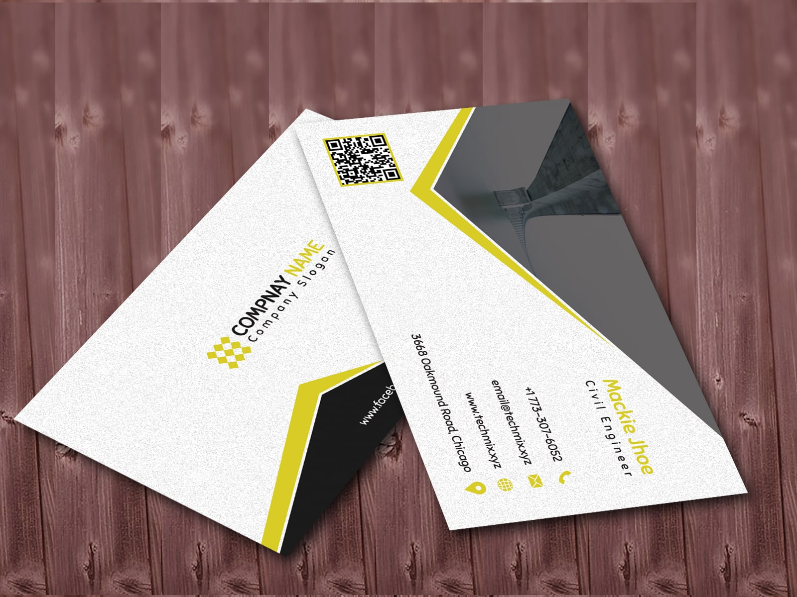 Black and White Civil Engineer Business Card