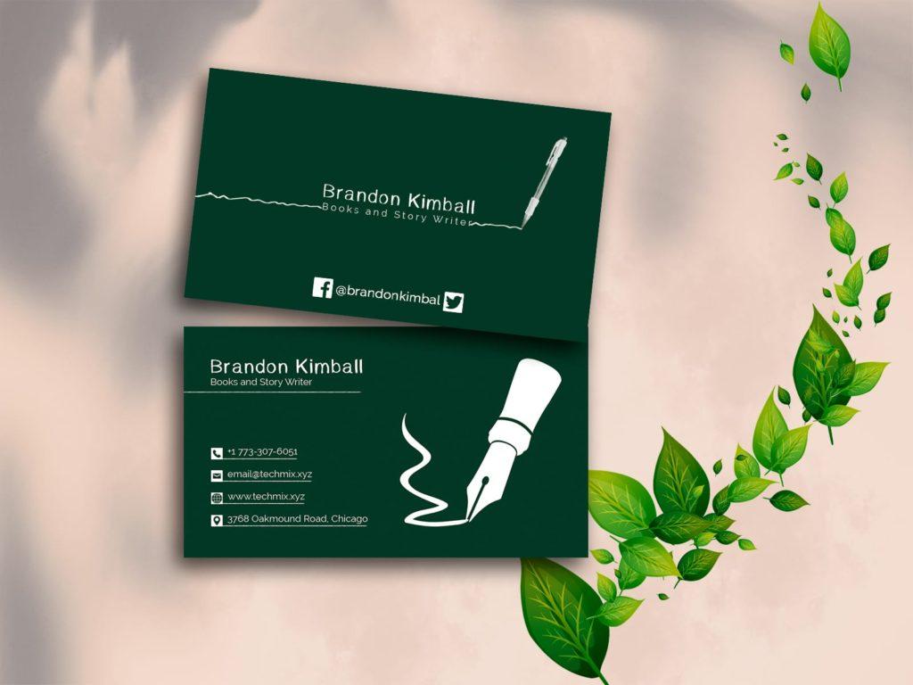 Books & Story Writer Business Card Design