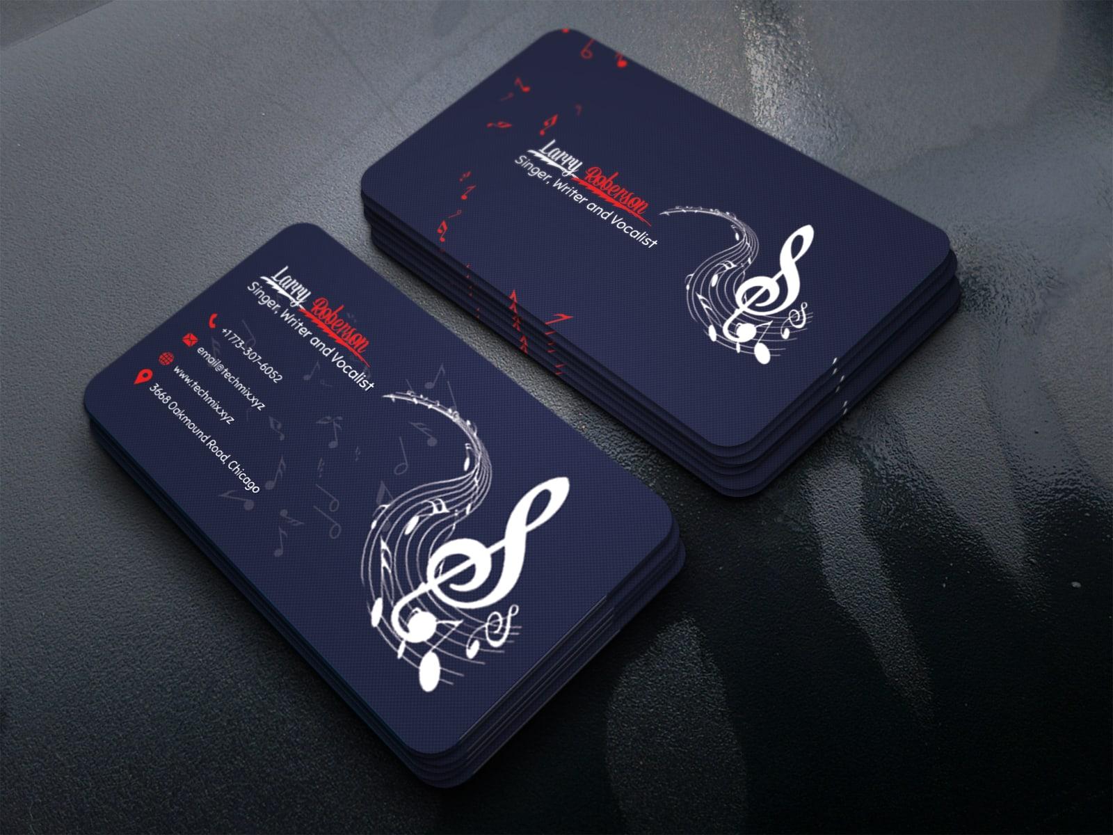 Elegant Singer, Writer, Vocalist Business Card Design