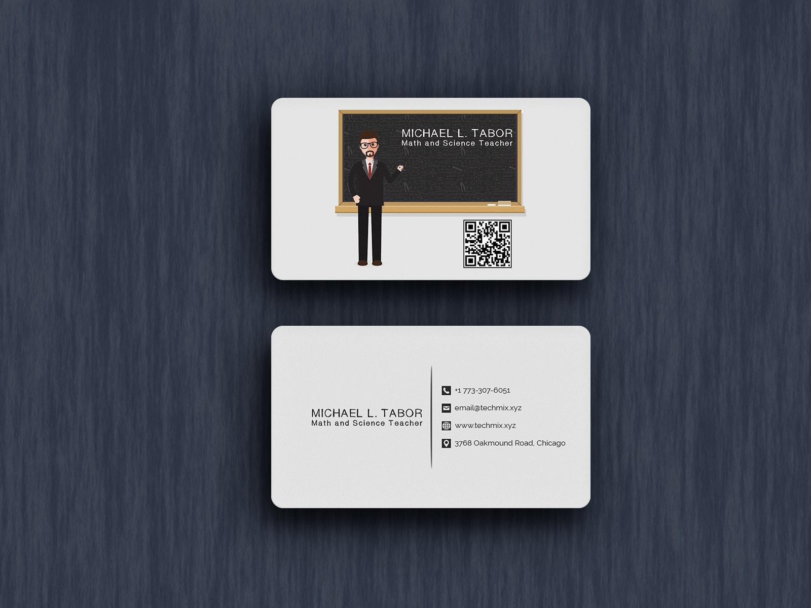 Math and Science Teacher Business Card Design