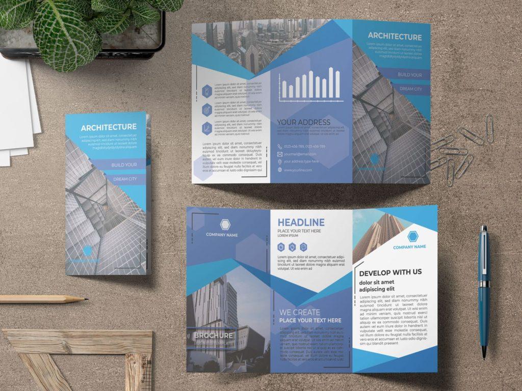 Elegant Architectural Firm Brochure Design Blue mock up