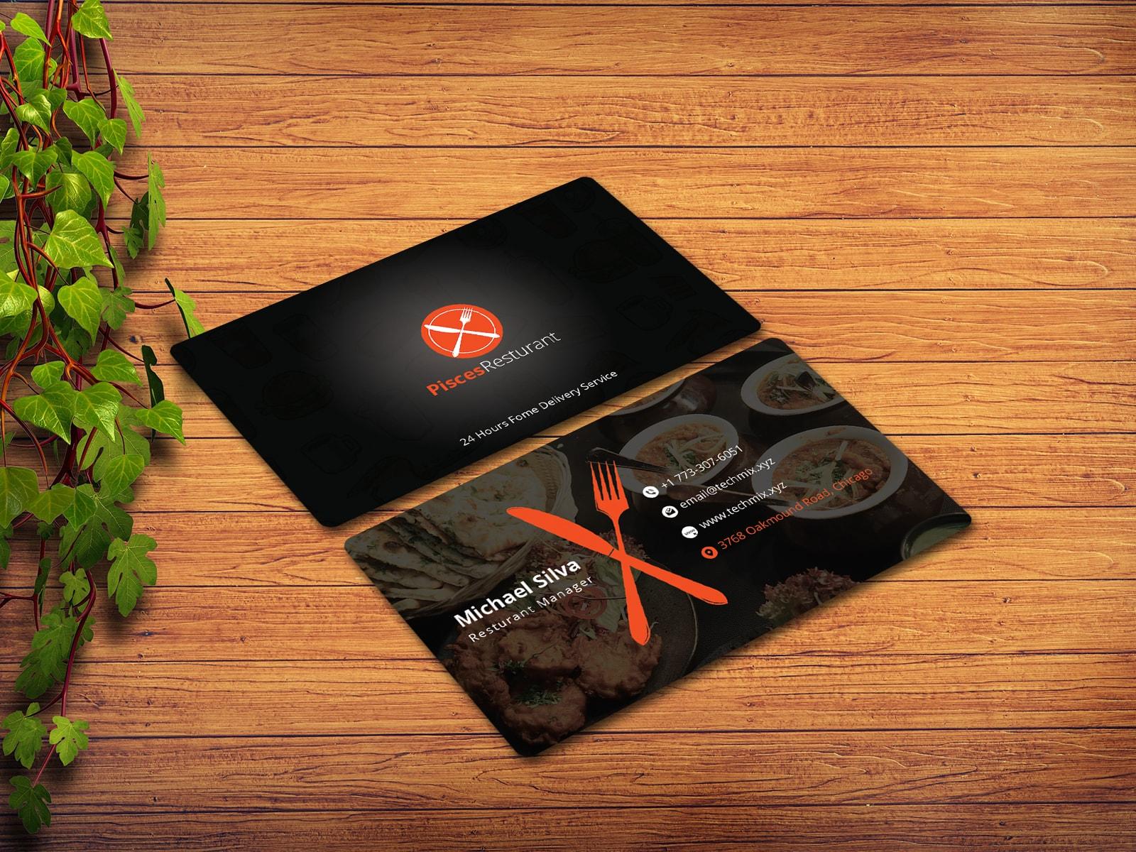 Elegant Black Restaurant Business Card