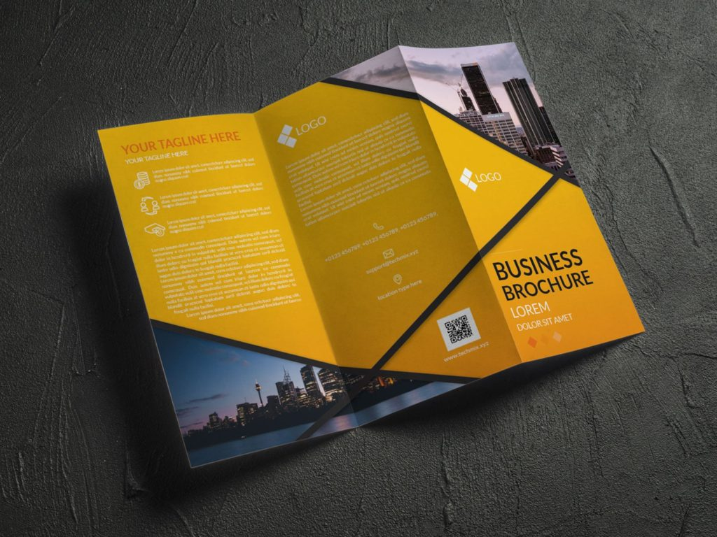 Royal Architectural Trifold Brochure Design Yellow outside mockup