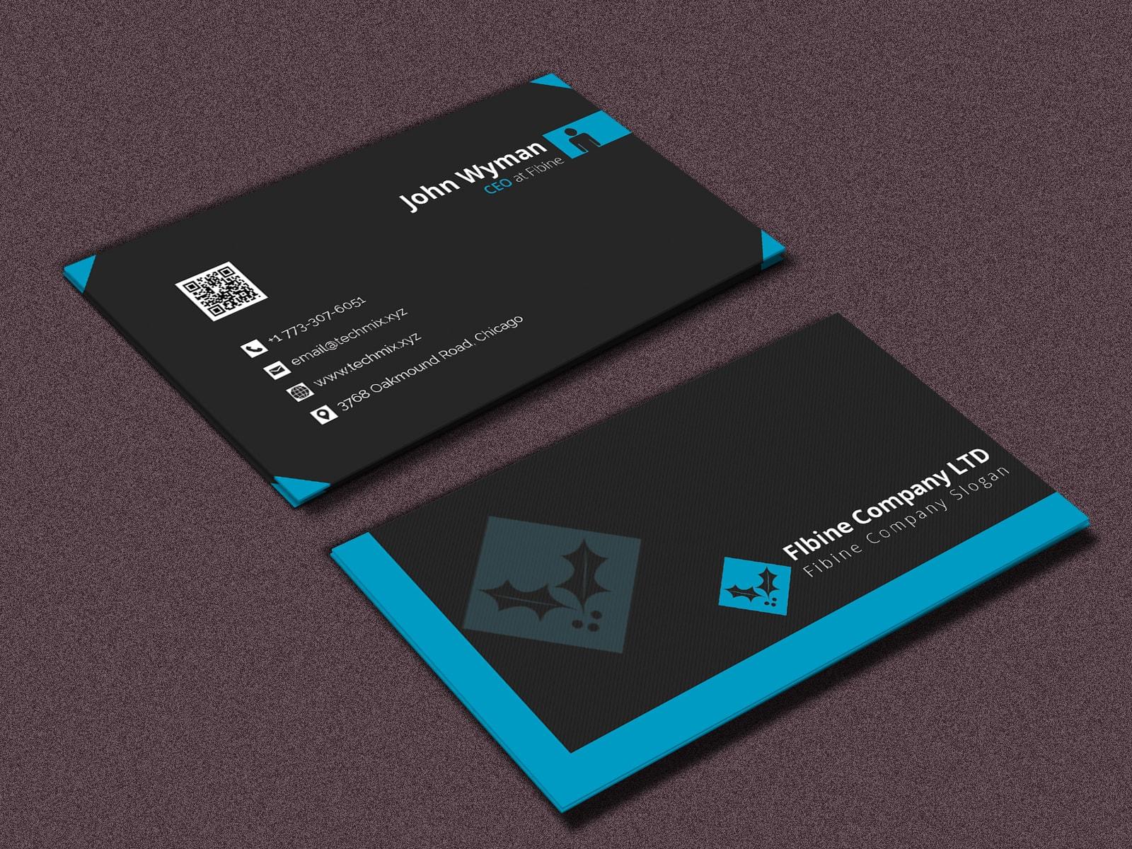 Black Color Business Card Design