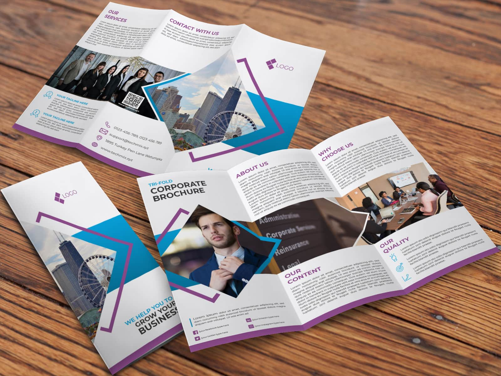 Clean Corporate Trifold Brochure Template