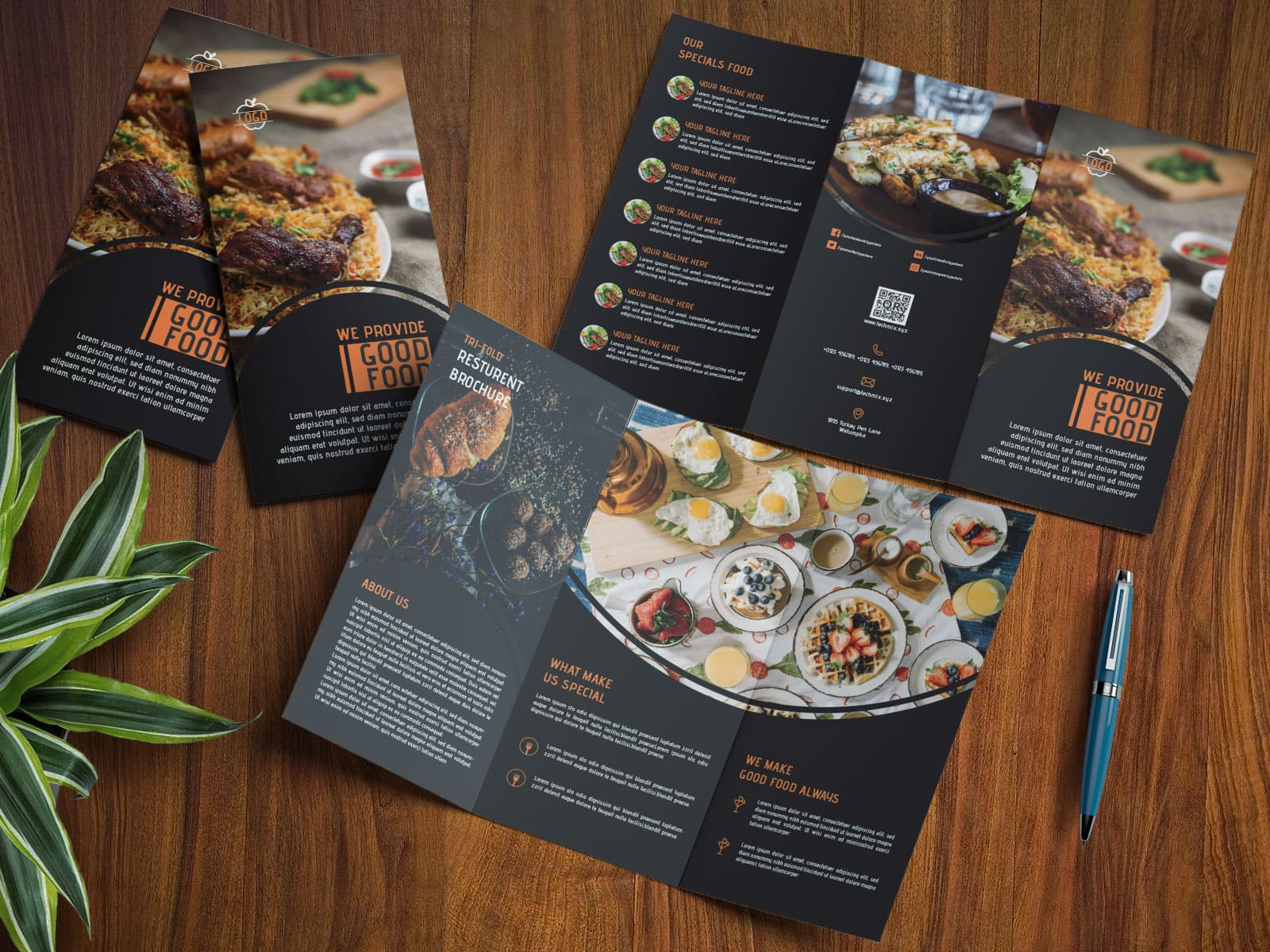 Elegant Black Restaurant Tri-Fold Brochure Template