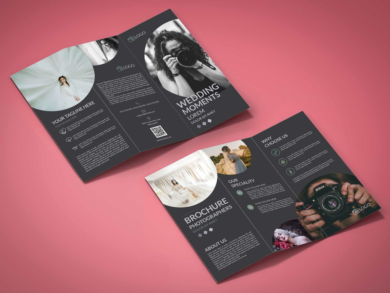 Photographer Tri-Fold Brochure Design Template BLACK