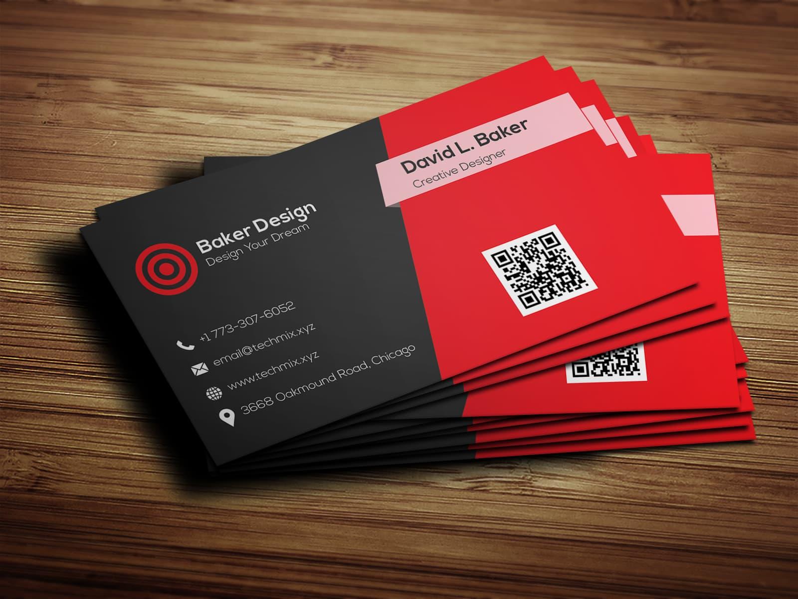 Red Black Business Card Design
