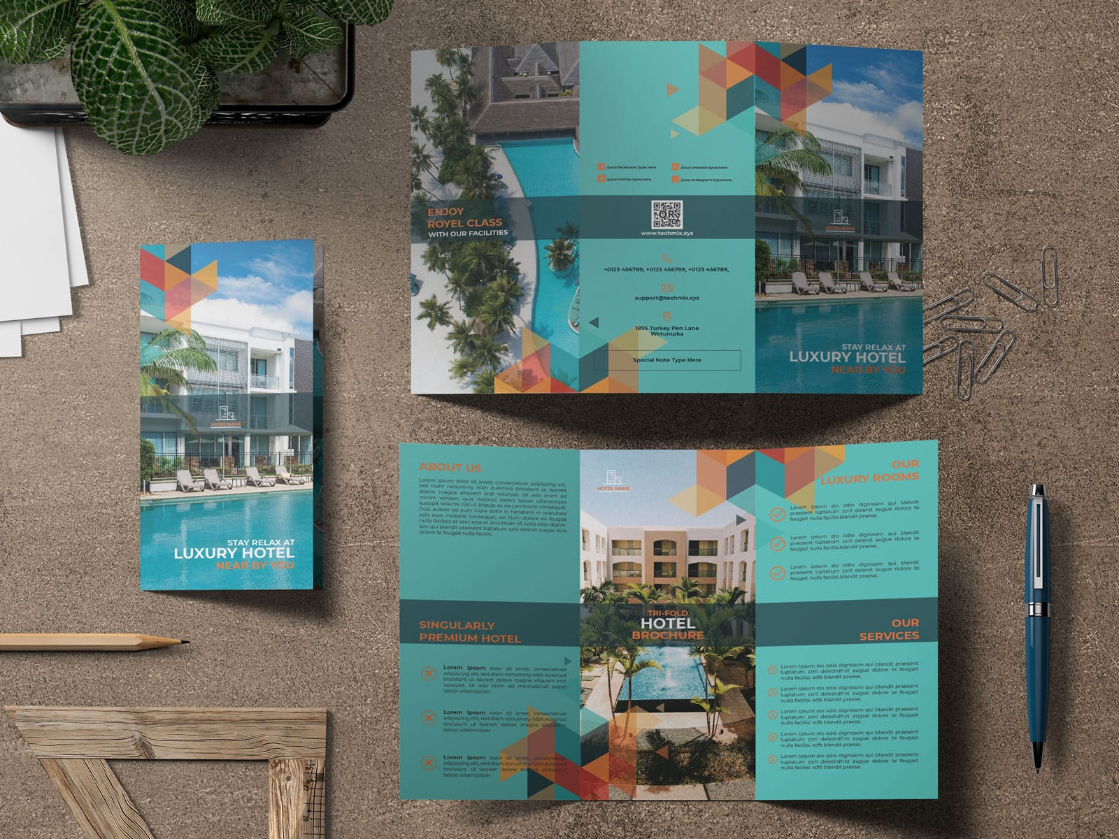 Trifold Brochure Luxury Hotel Collection TG-mockup