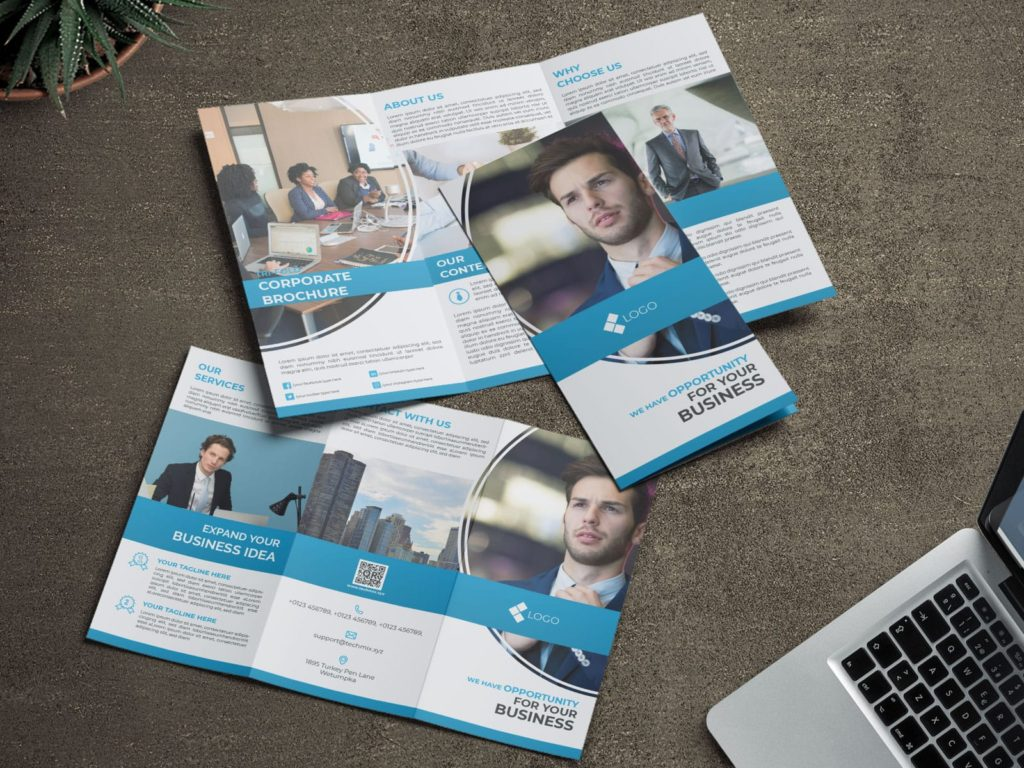 Trifold Corporate Business Brochure blue