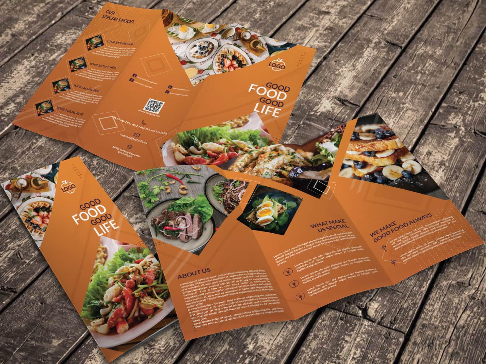 Yellow Tri fold Restaurant Brochure Template MOCKUP