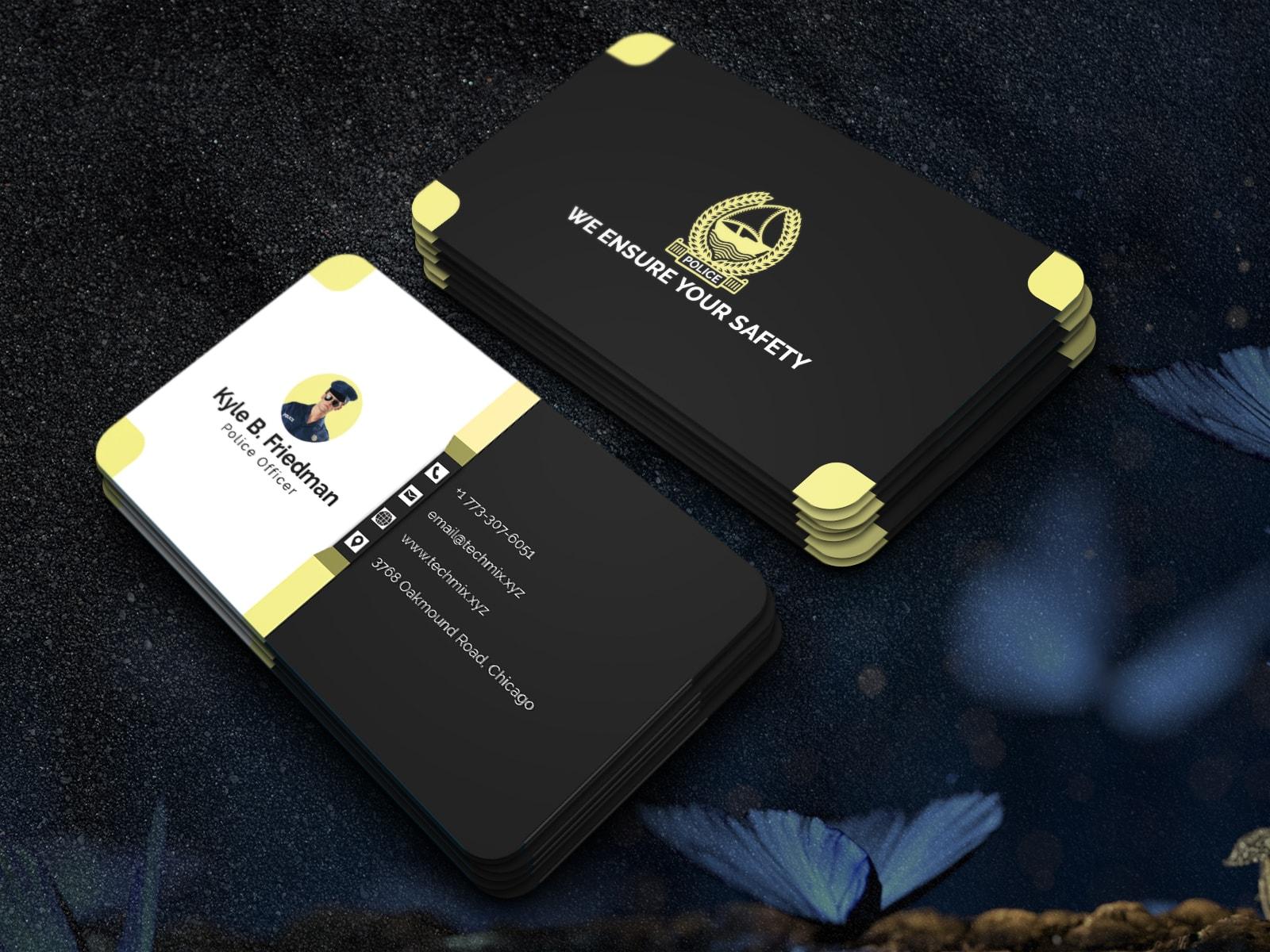 3D Police Business Card Design Template
