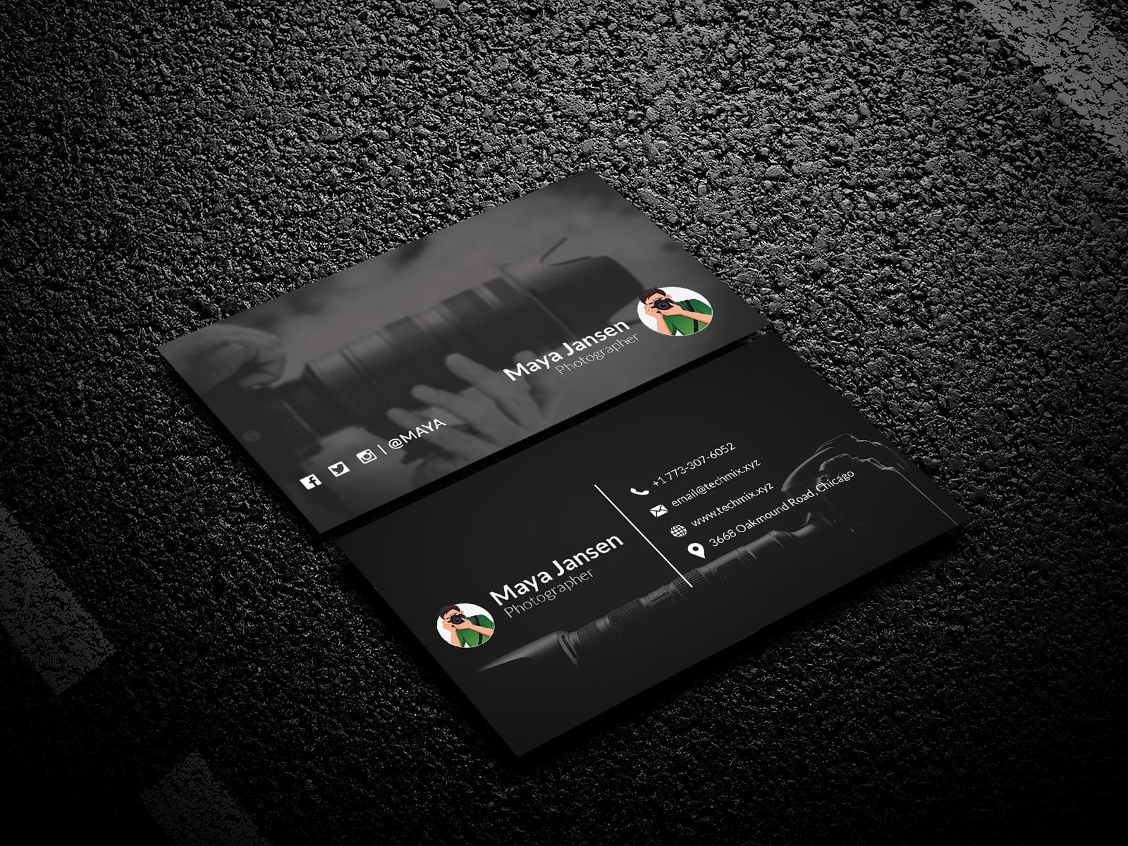Black Photographer Business Card Template