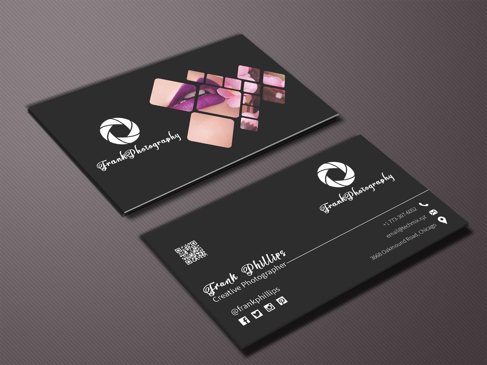 Elegant Black Photographer Business Card
