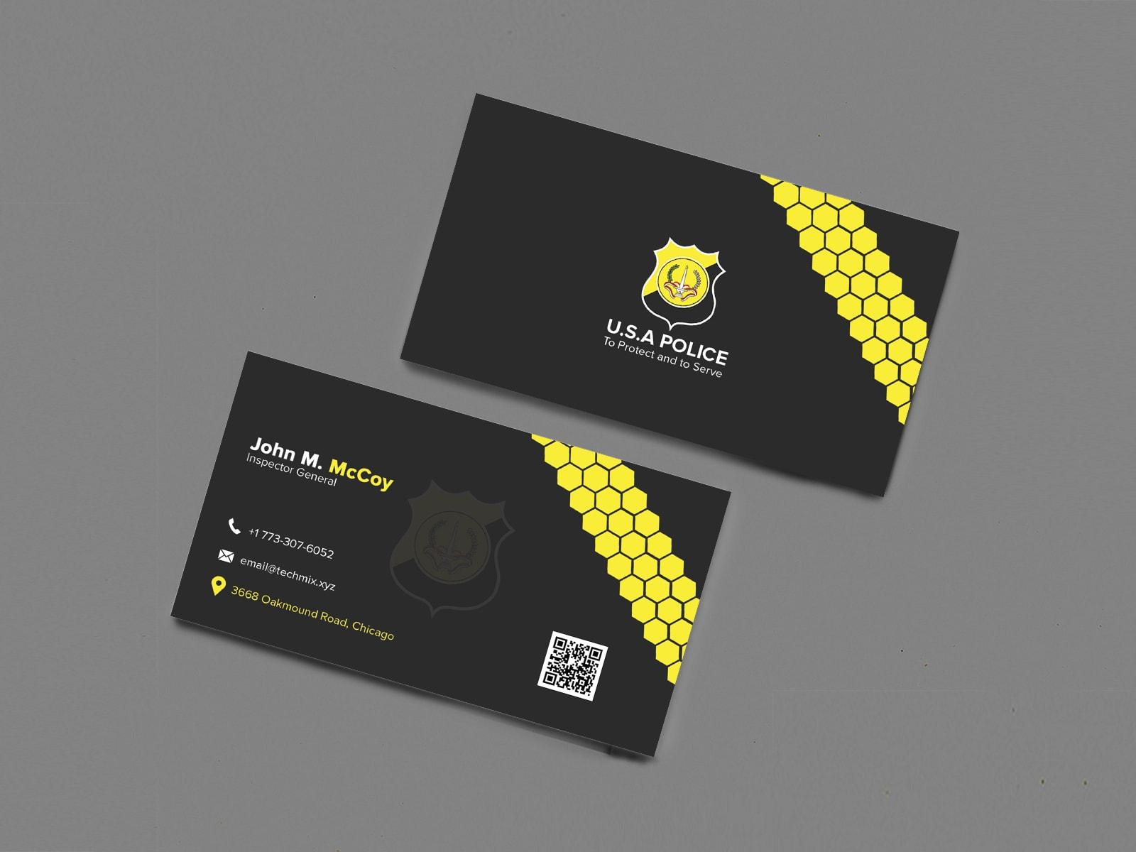Elegant Police Business Card Design
