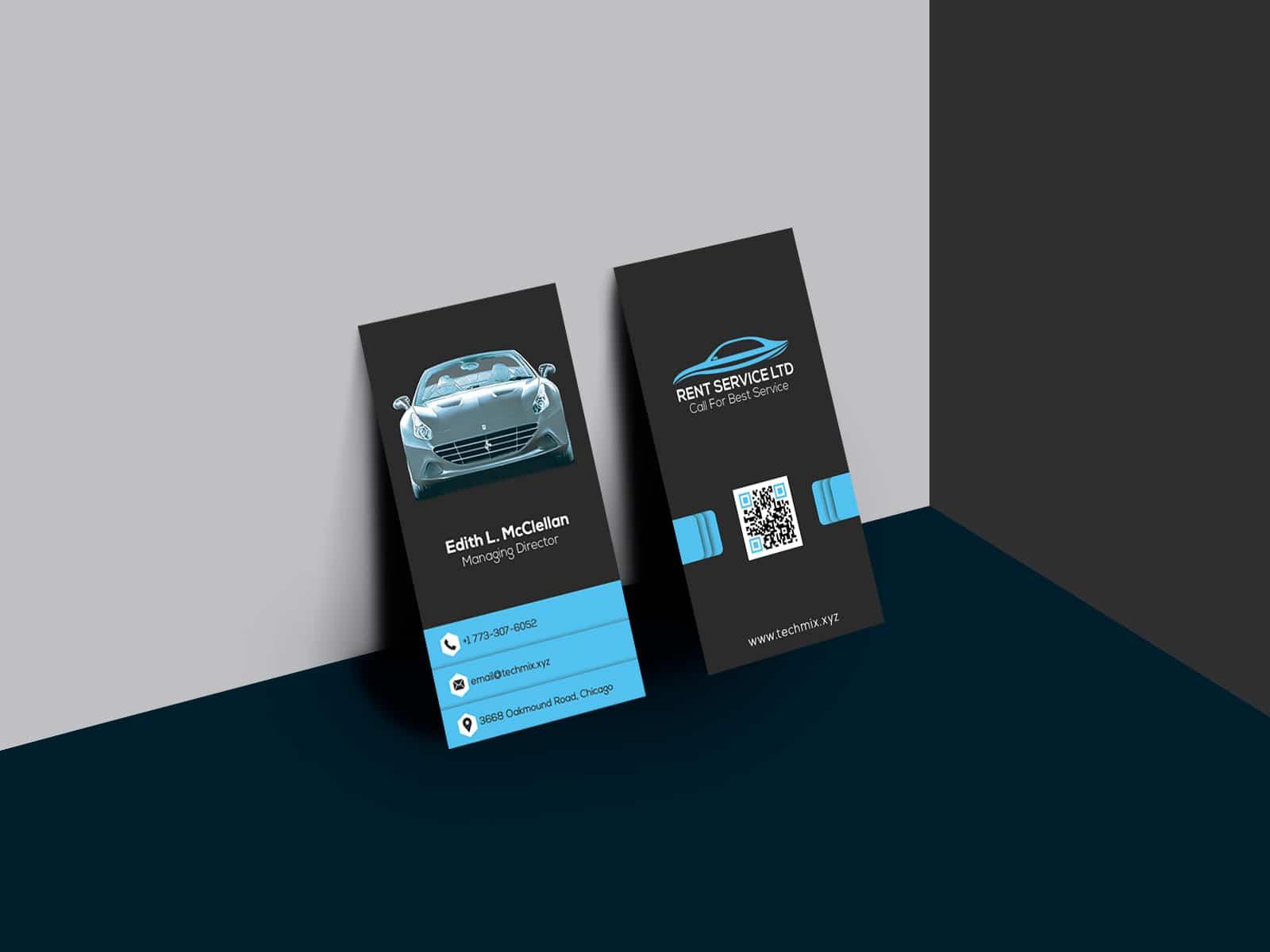 Rent a Car Vertical Business Card Design Template