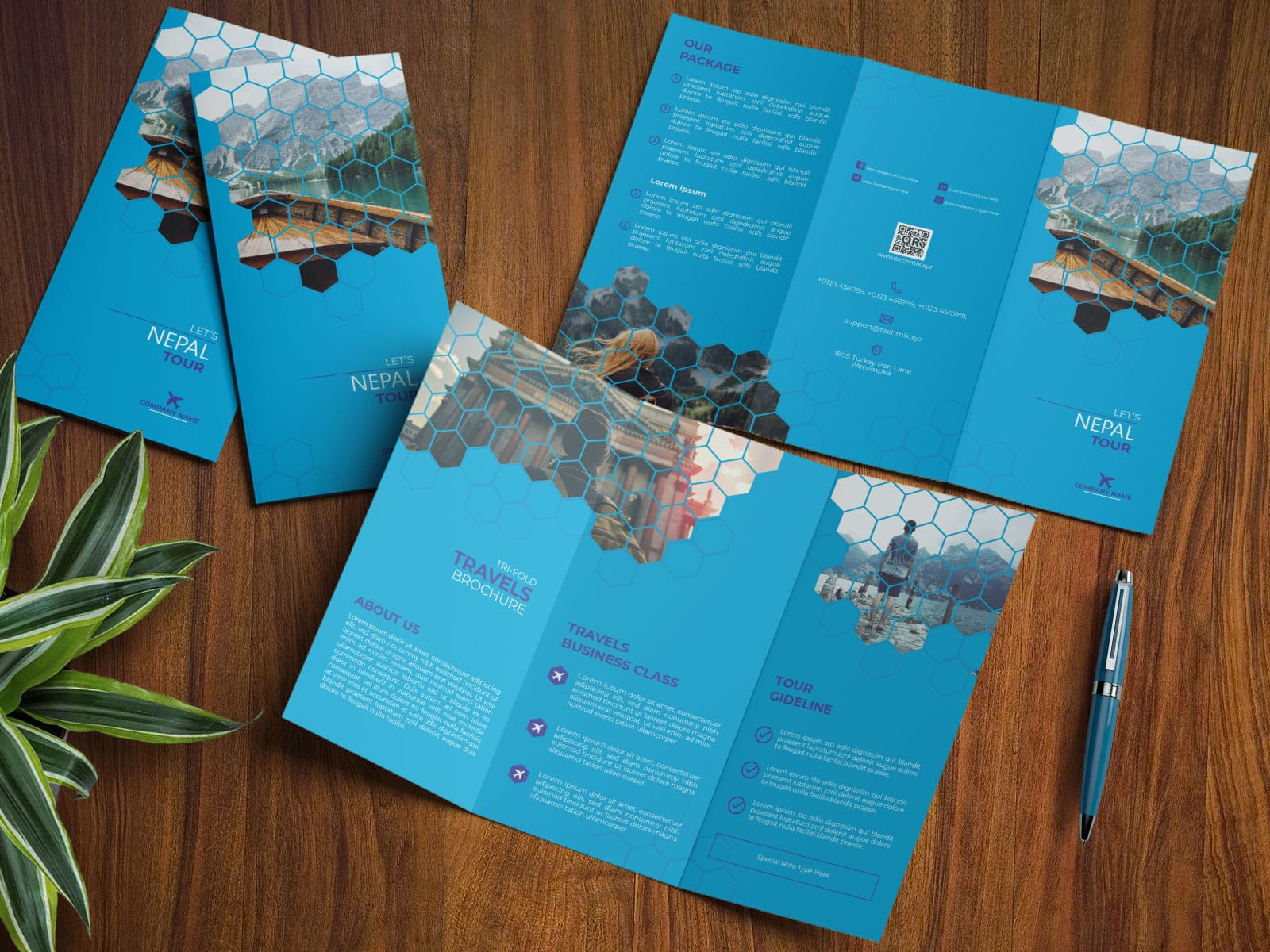 Travel Business Trifold Design Template MOCKUP
