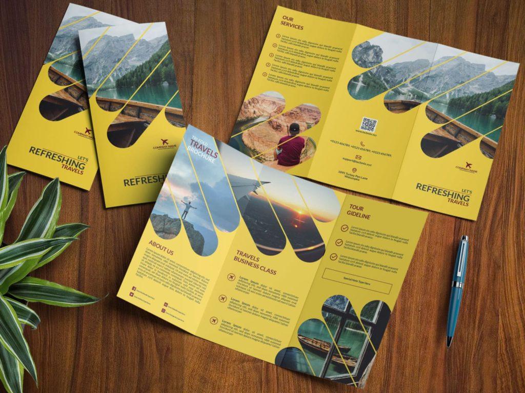 Travel Tri Fold Brochure Design Template YELLOW-MOCKUP