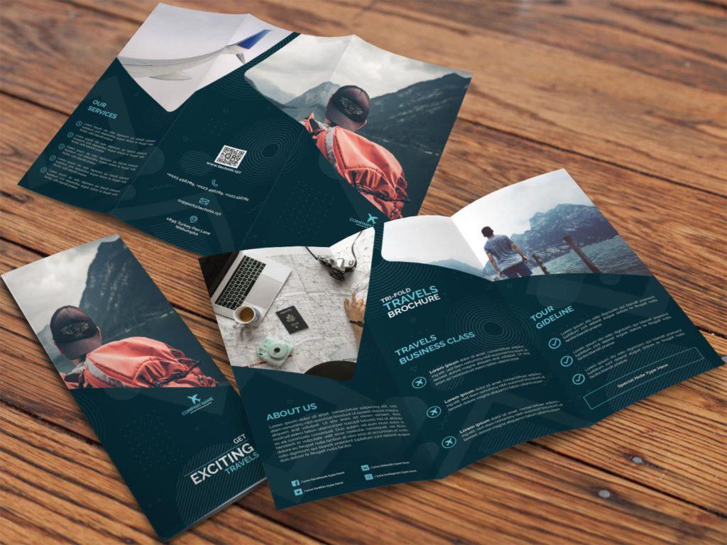 Tri-Fold Travel Brochure BLUE-MOCKUP