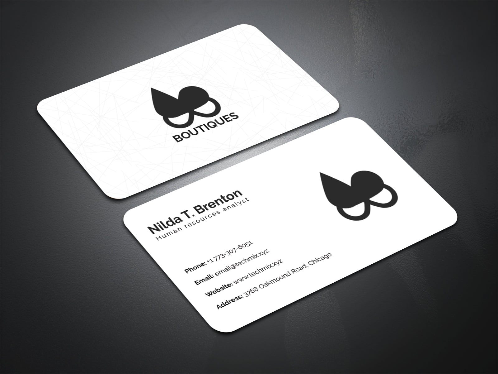 Minimal Black and White Business Card