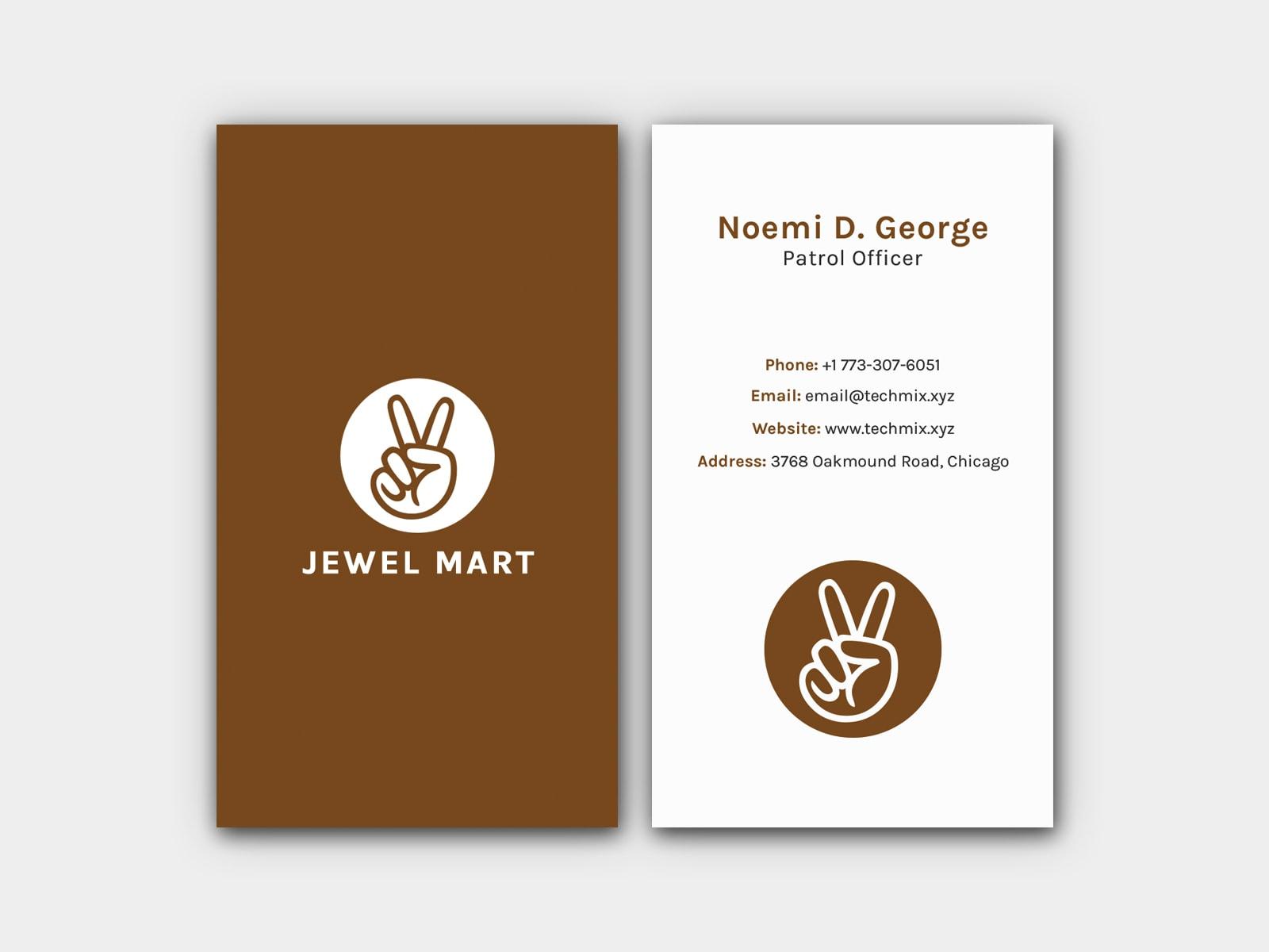 Minimal Vertical Business Card