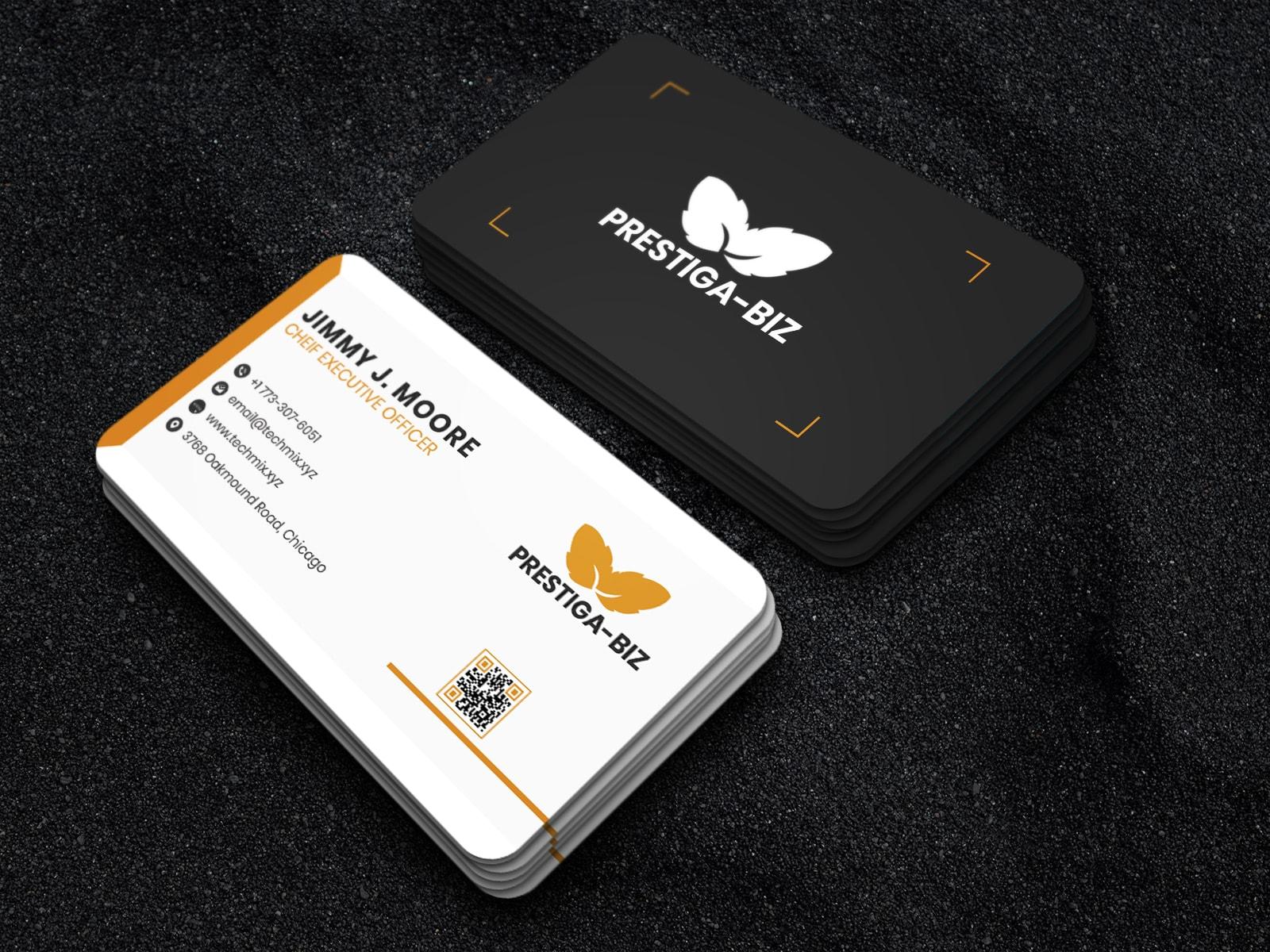 Minimal White Black Business Card Design Template